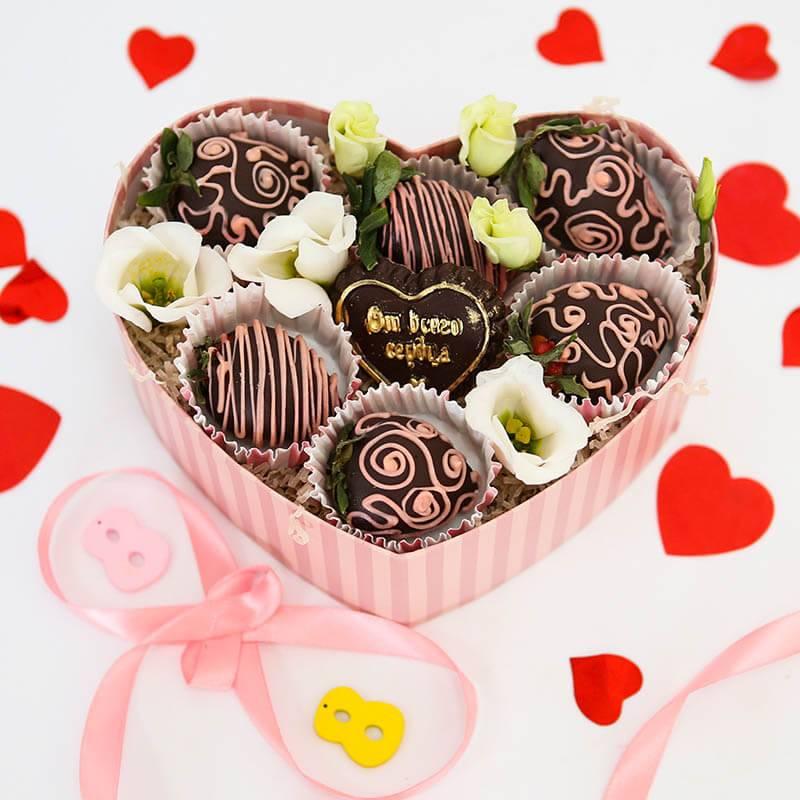 """Клубника в темном шоколаде """"Сладкое сердце"""""""