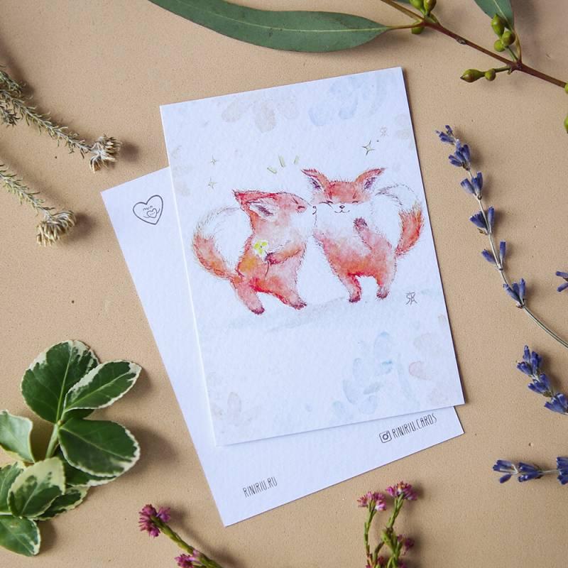 """Мини открытка ручной работы акварелью в конверте """"Лисички"""""""