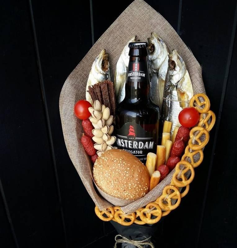 Дизайнерский мужской букет с пивом