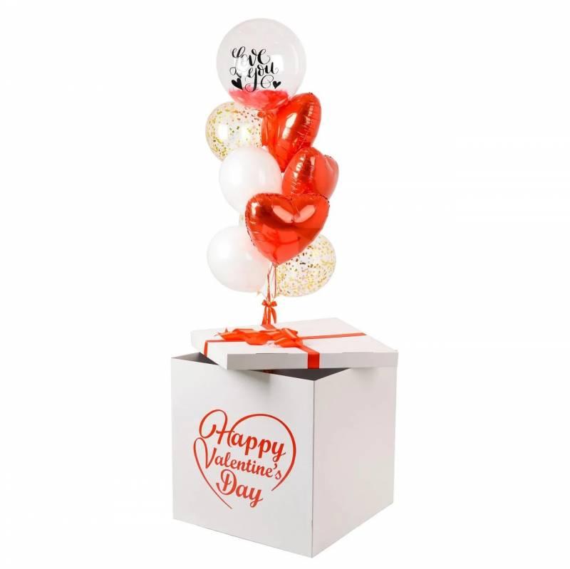 Коробка сюрприз  с красной надписью Happy Valentine's Day и связкой шаров