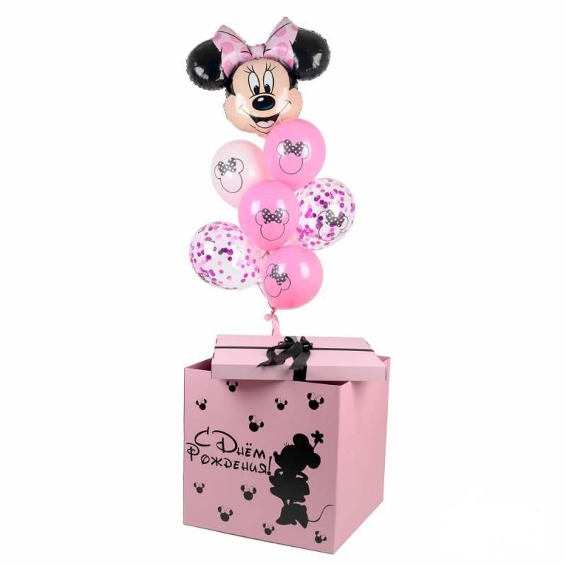 Коробка розовая с Минни Маус и связкой шариков