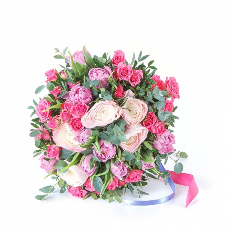 Лютики и малиновая роза