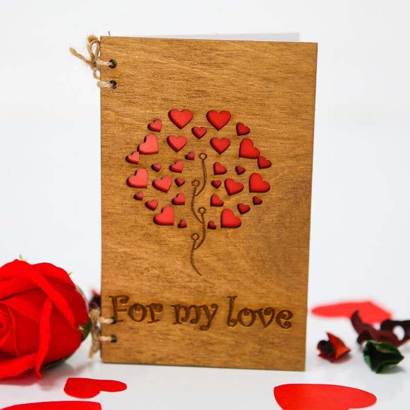 """Деревянная открытка  """"For my Love"""""""