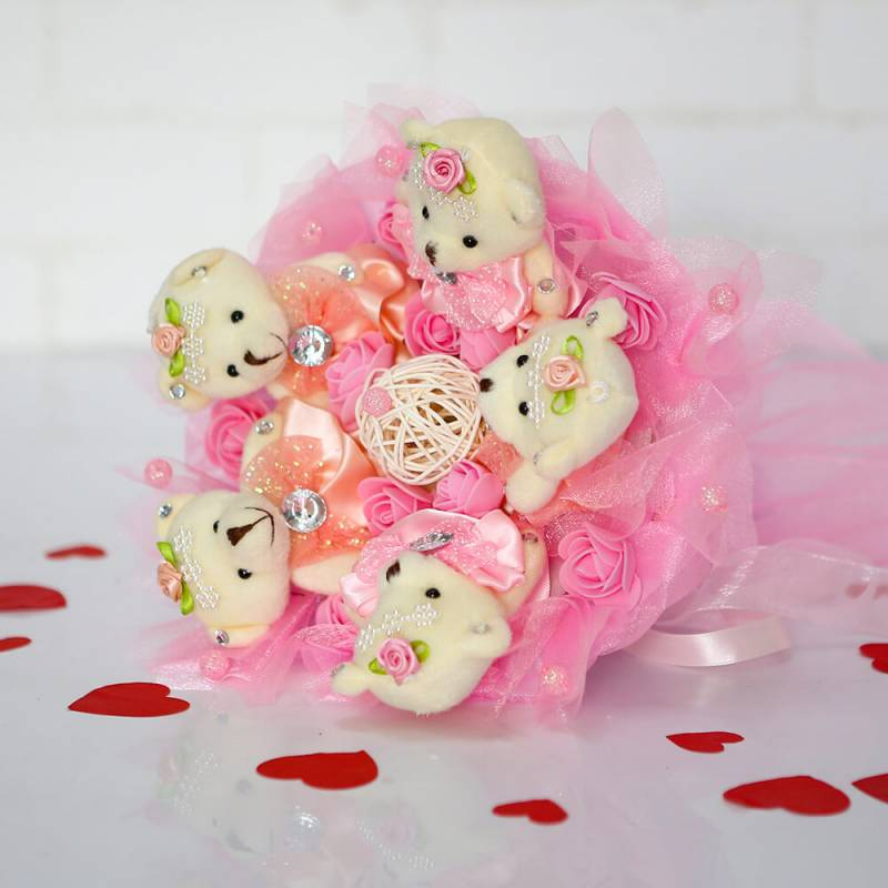 """Букет из игрушек  """"Розовый букет из 5 мишек"""""""