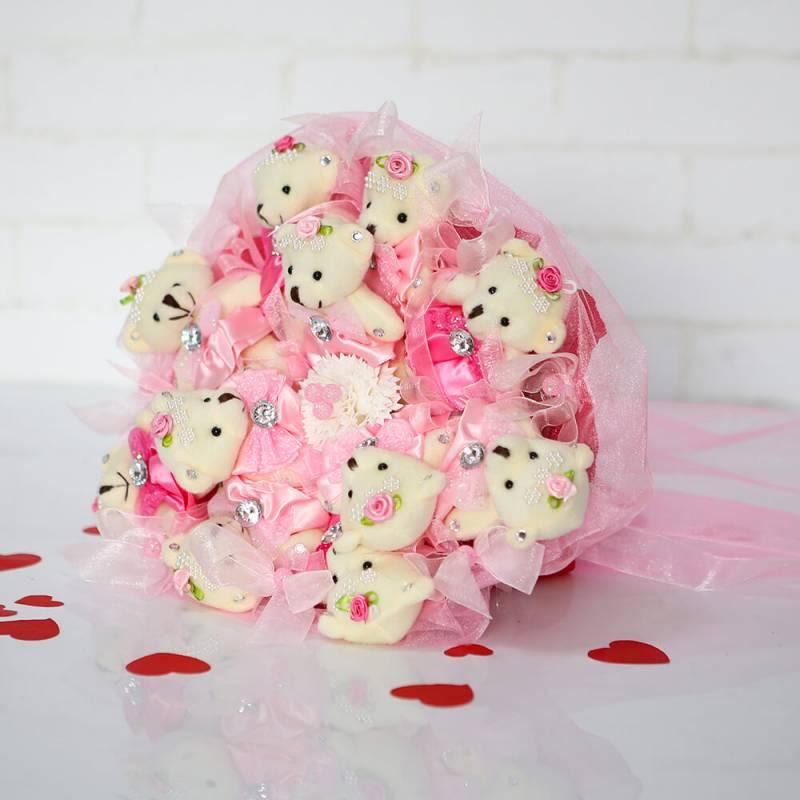 """Букет из игрушек  """"Розовый букет из 9 мишек"""""""