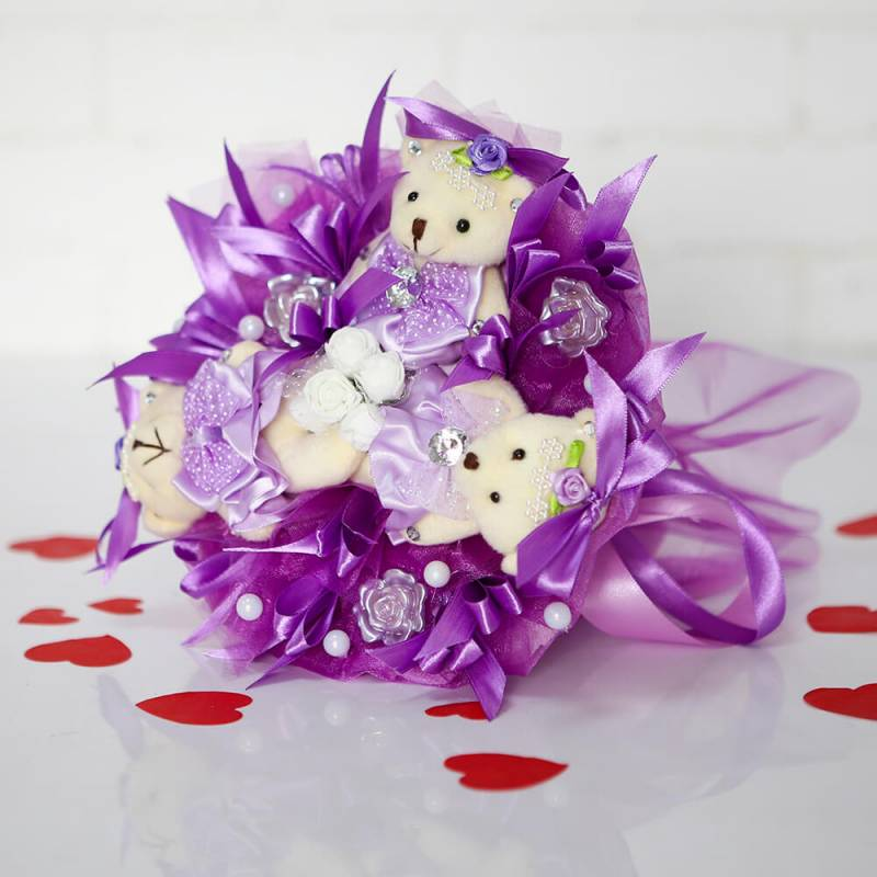 """Букет из игрушек  """"Фиолетовый букет из  мишек"""""""