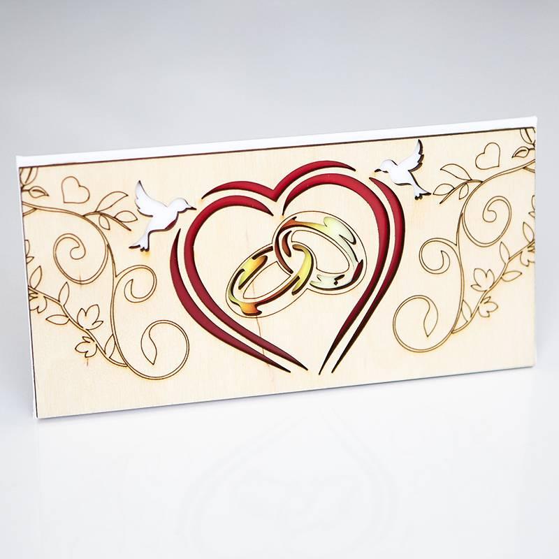 Деревянная открытка ручной работы С днем свадьбы! (Кольца)