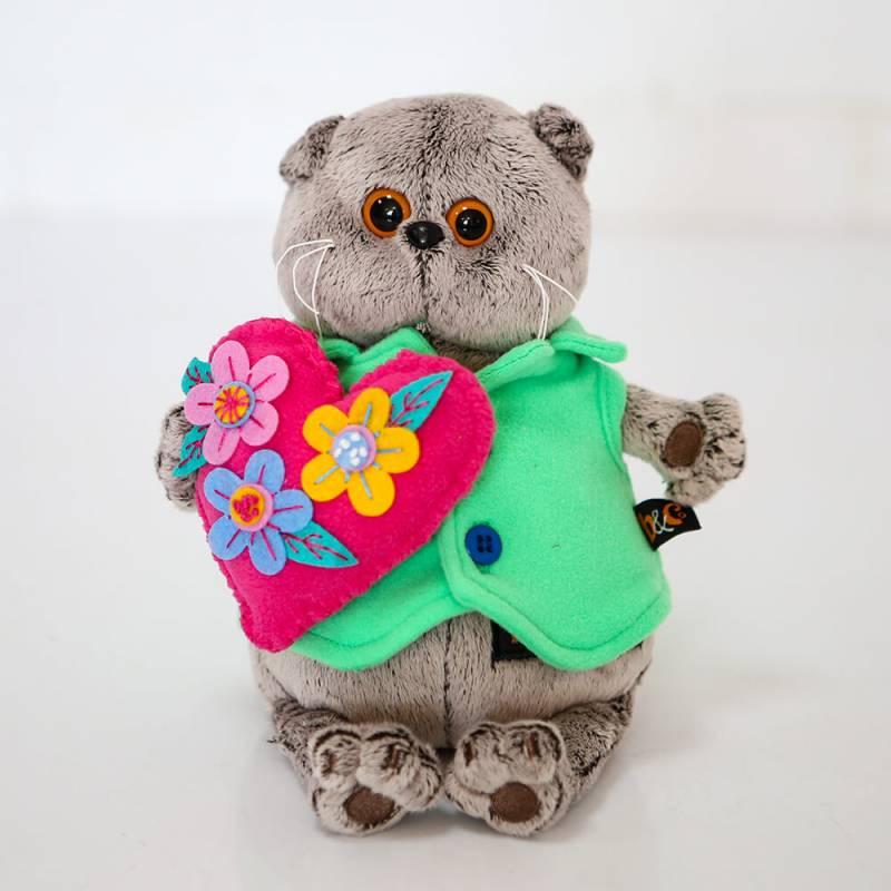 Мягкая игрушка Budi Basa Басик с сердцем в цветочек 19 СМ