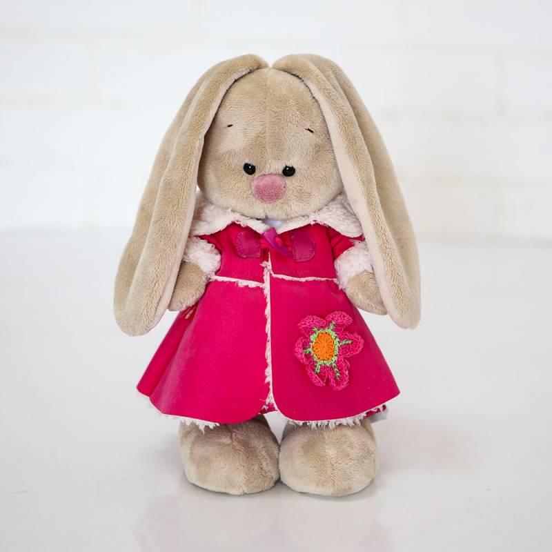 Мягкая игрушка Зайка Ми в платье и розовой дубленке 25см