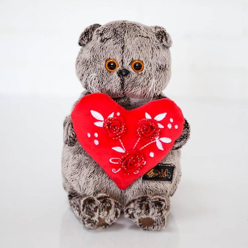 Мягкая игрушка Budi Basa Басик с сердцем и тремя розами