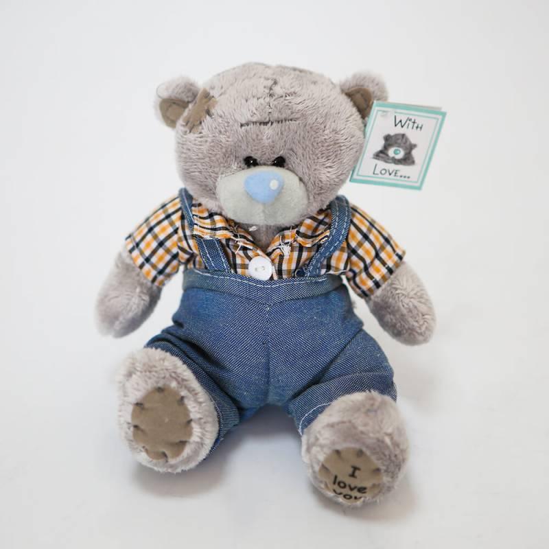 Мини мишка Тедди 15см в комбинезоне