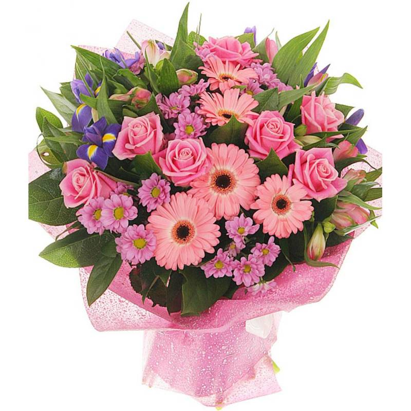 Букет с розами и герберами