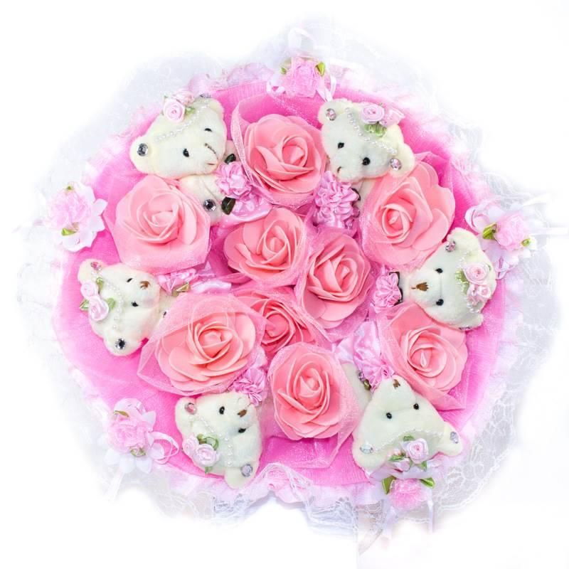 """Букет из игрушек  """"Розовый букет из 6 мишек"""""""