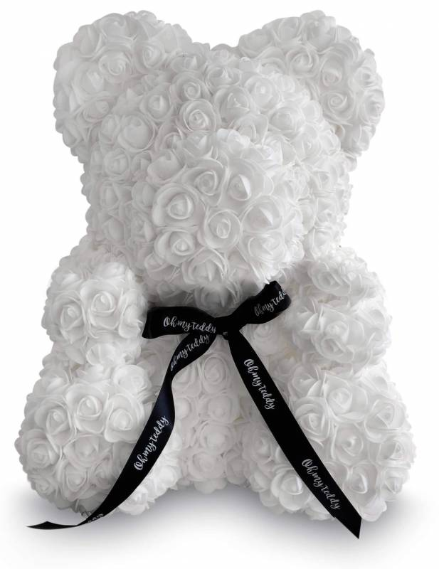 Белый мишка из роз 40 см.