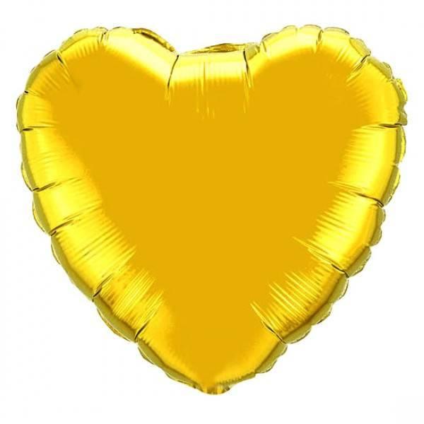 Шар из фольги « Сердце золотое» (большое) 73 см.