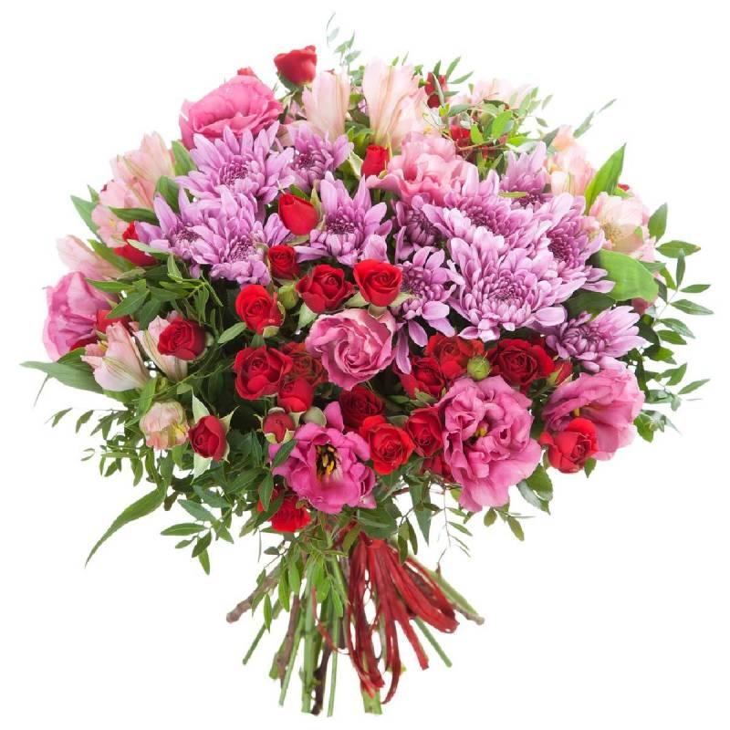 Букет из кустовых роз и хризантем с эустомой