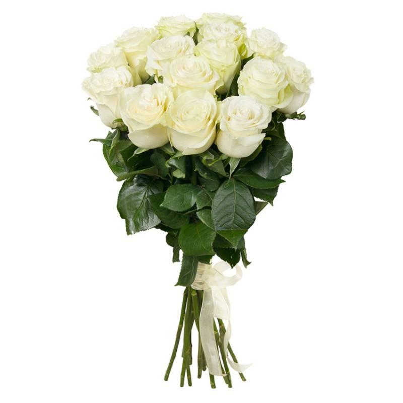 """Букет из 15 белых импортных роз """"Полярный"""""""