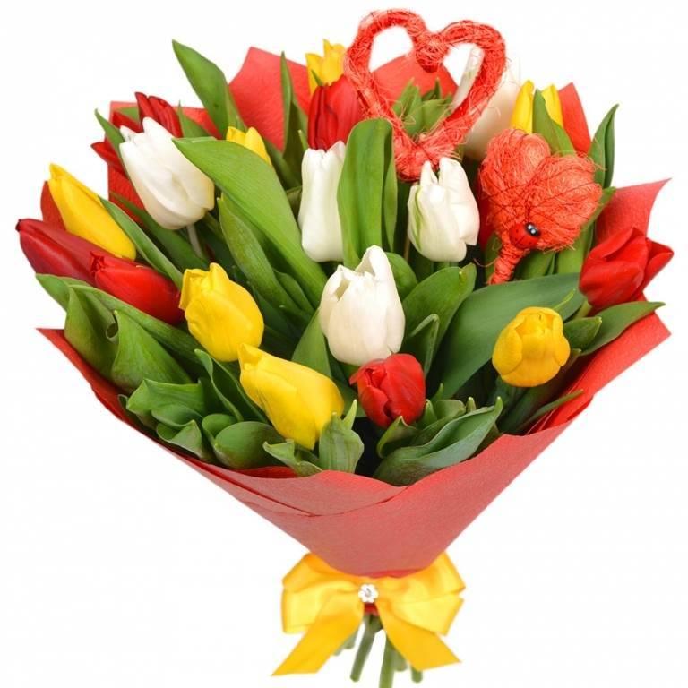 Букет из 19 разноцветных тюльпанов.