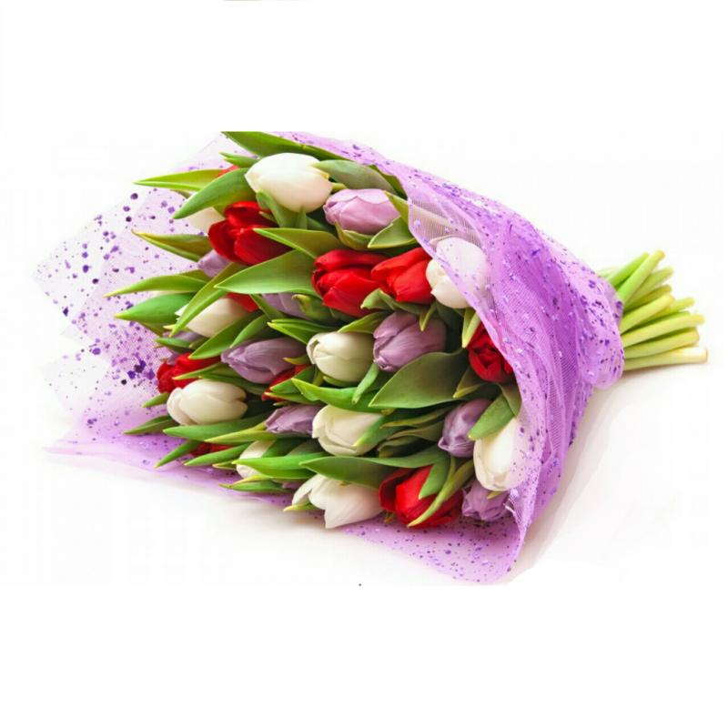 """Букет из 25 тюльпанов """"Ассорти"""""""