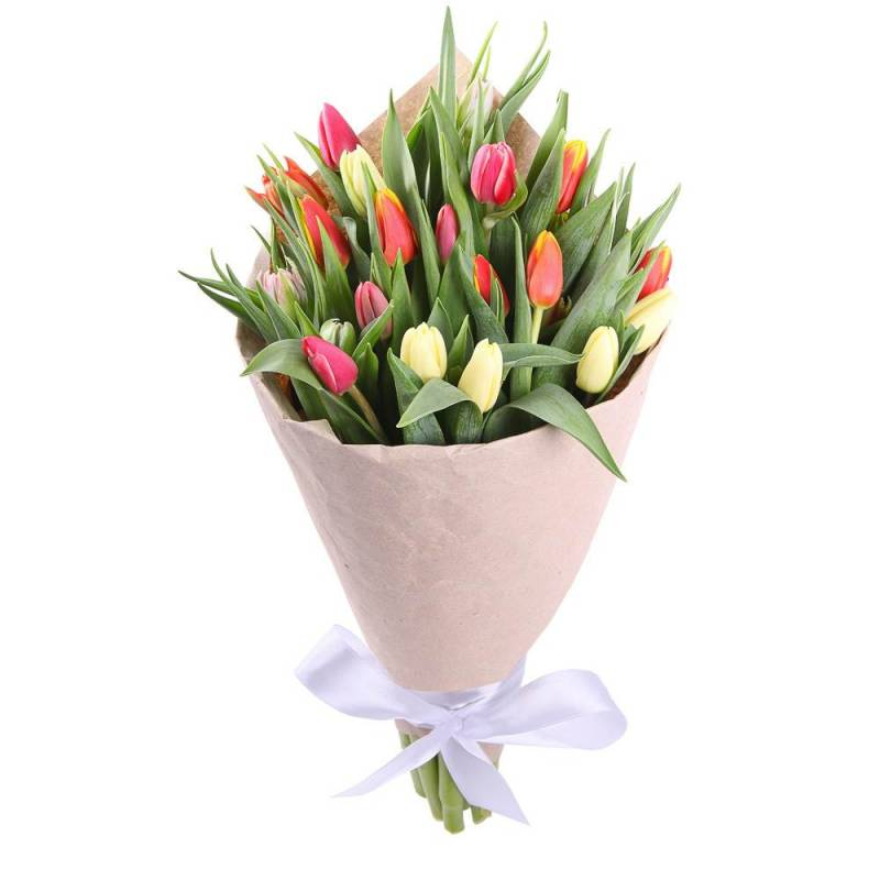 Букет из 25 тюльпанов.