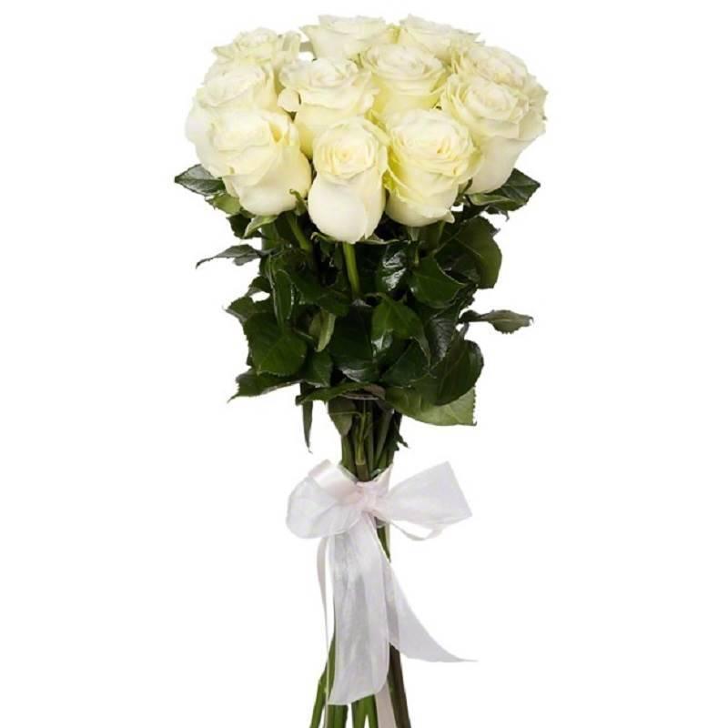 """Букет из 11 белых роз """"Белая пена"""" (Эквадор)"""