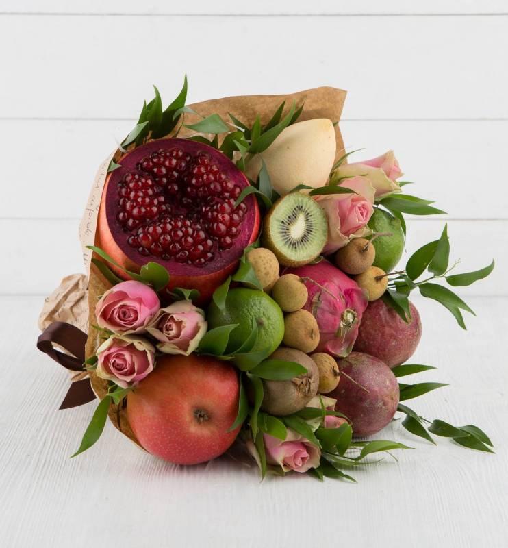 """Букет из экзотических фруктов и цветов """"Секрет дракона"""""""