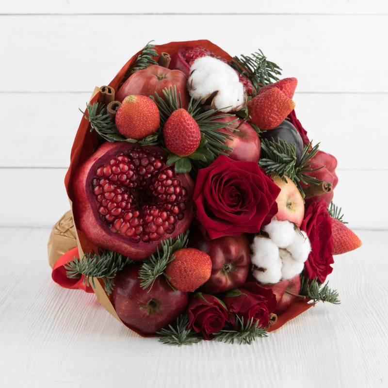 """Букет из фруктов и цветов """"Алые паруса"""""""