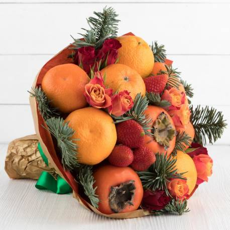 """Букет из фруктов и цветов """"Мандариновое дерево"""""""