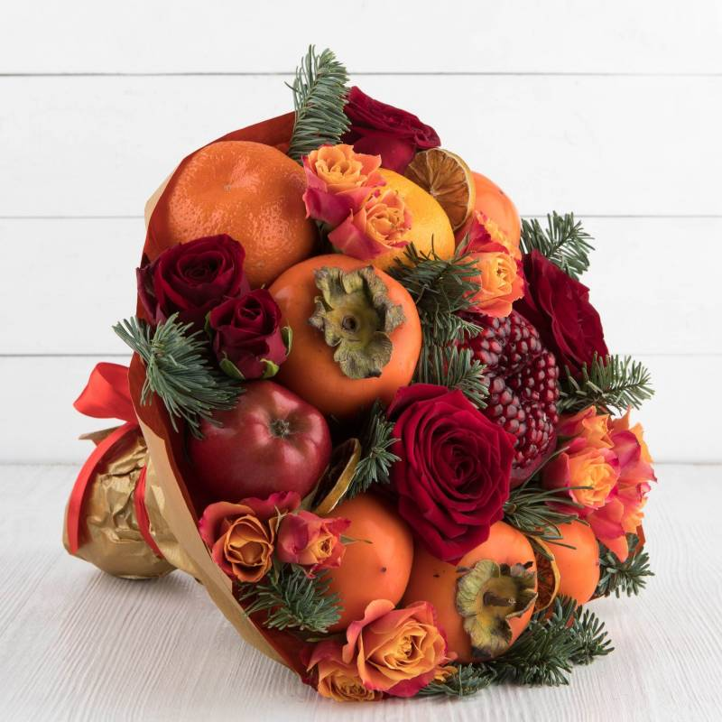 """Букет из фруктов и цветов """"Осенние грезы"""""""