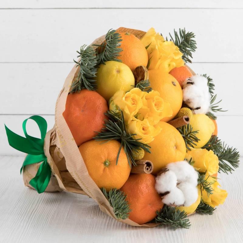 """Букет из фруктов и цветов """"Символ года"""""""