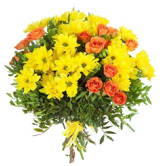 """Букет из желтых хризантем и роз """"Солнце"""""""