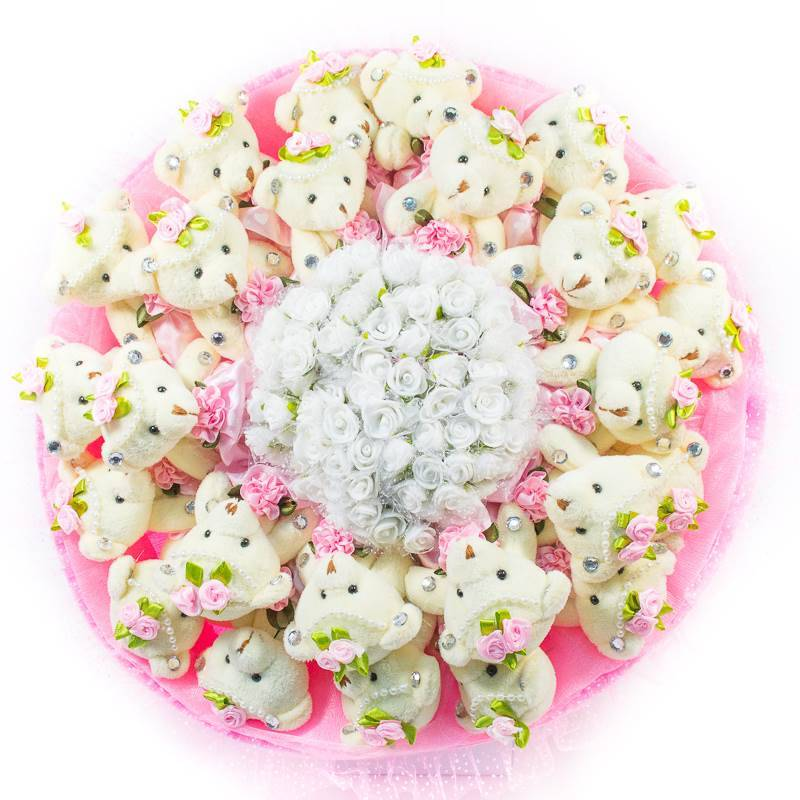 """Букет из игрушек  """" Розовый букет из 25 мишек"""""""