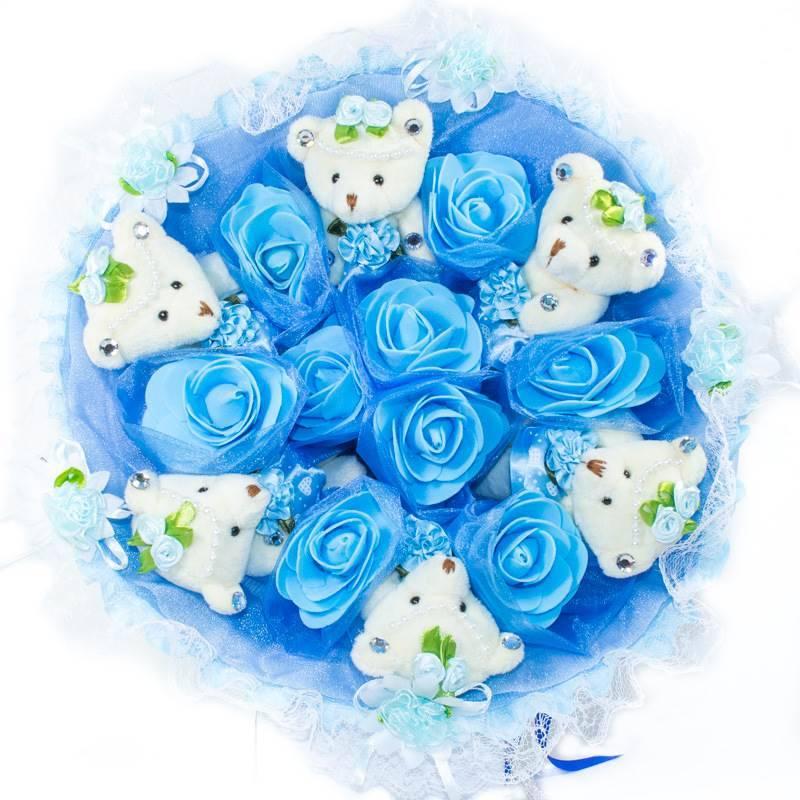 """Букет из игрушек  """"Голубой букет из 6 мишек"""""""
