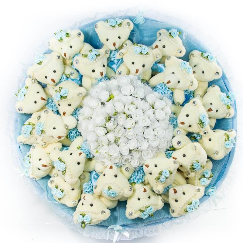 """Букет из игрушек  """"Голубой букет из 25 мишек"""""""