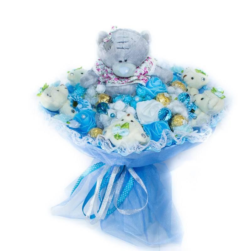 """Букет из игрушек  """"Моей единственной"""" с конфетами, голубой"""