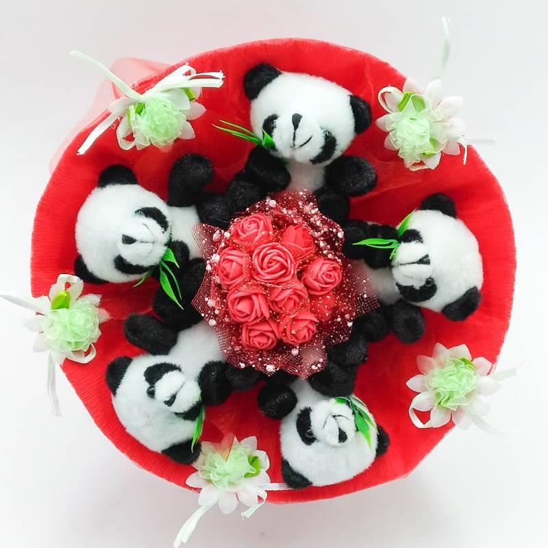 """Букет из игрушек """"Панда"""" в красном"""