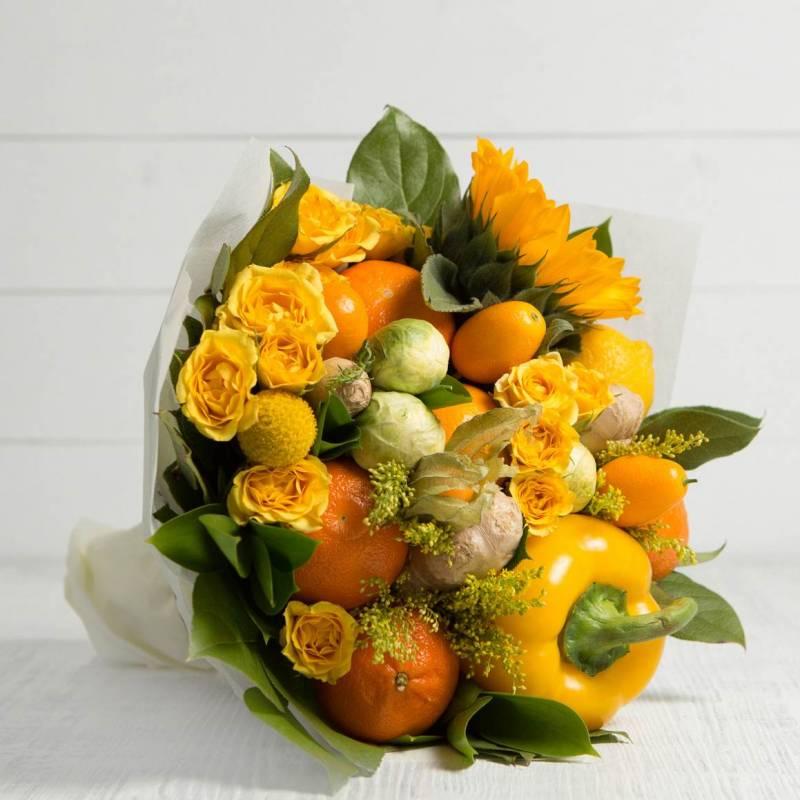 """Букет из овощей и цветов """"Оранж"""""""