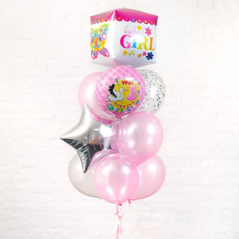 Букет из воздушных шариков на выписку для девочки