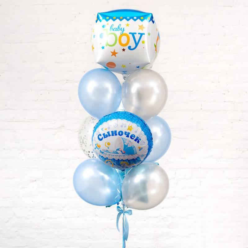 Букет из воздушных шариков на выписку для мальчика