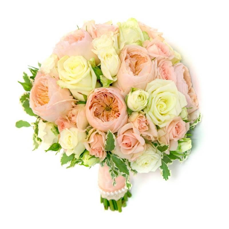 Букет невесты с кремовыми розами