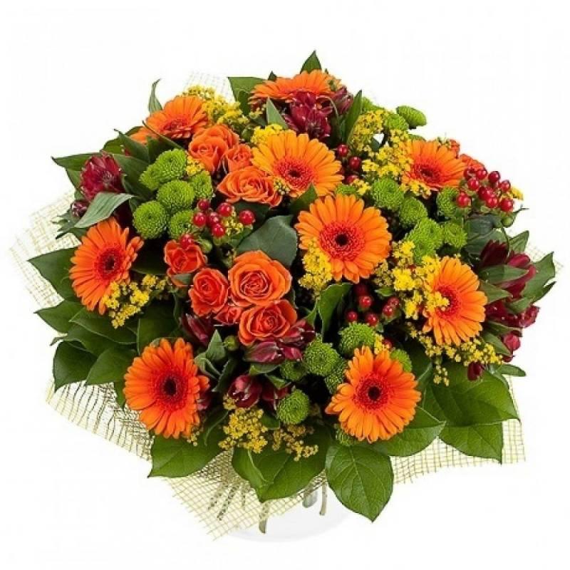 """Букет из роз, гербер и хризантем """"Оранжевое небо"""""""