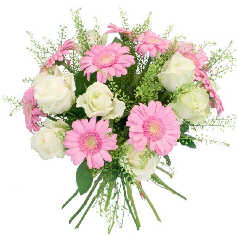 """Букет из роз и гербер """"Улыбка принцессы"""""""