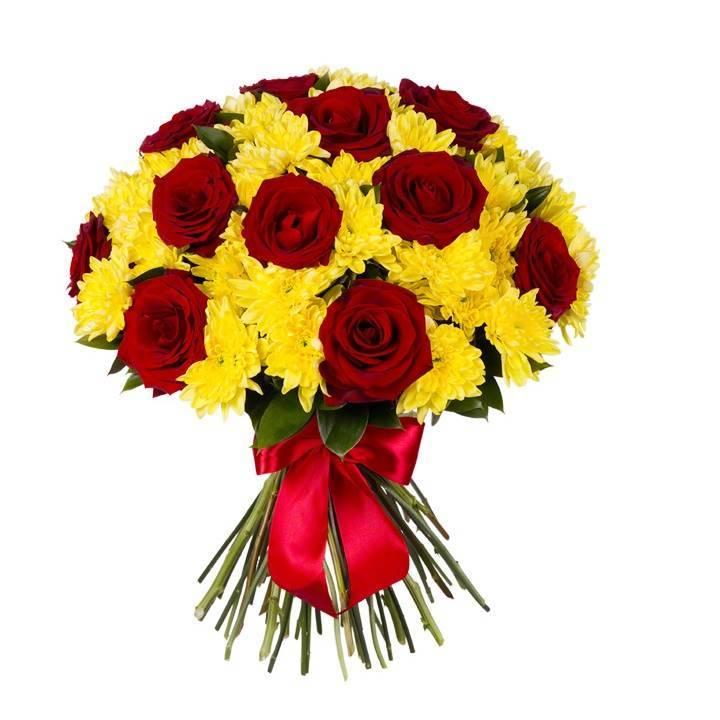 """Букет из роз и хризантем """"Рубины в янтаре"""""""
