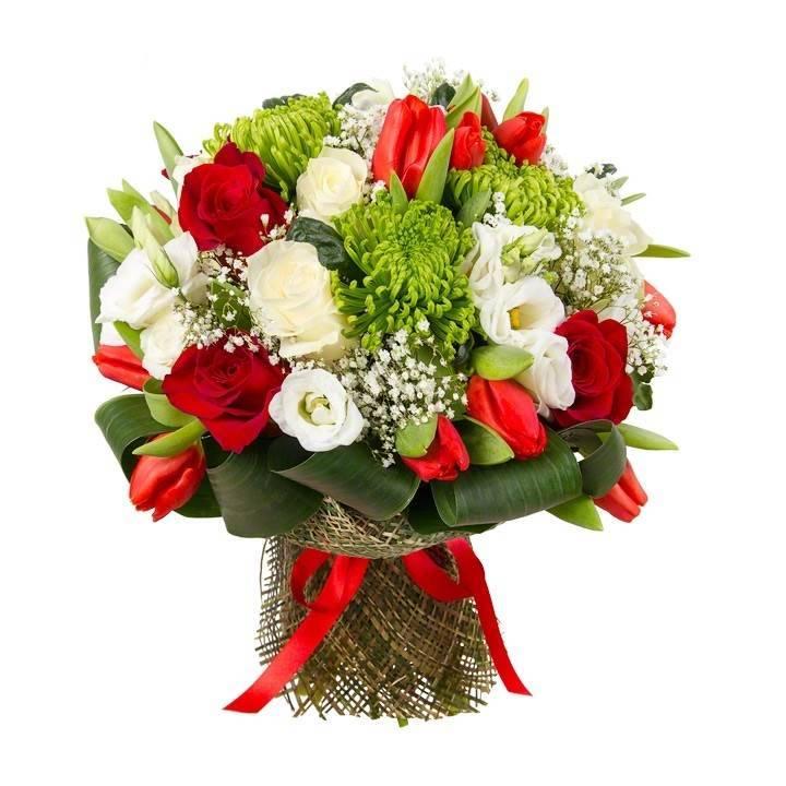 """Букет с хризантемами, розой и эустомой  """"Утренняя роса"""""""