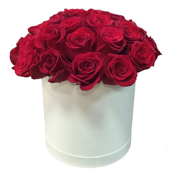 """Букет в шляпной коробке  с розами """"Лед и пламя"""""""