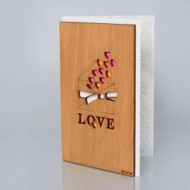 Деревянная открытка ручной работы «Письмо с любовью»