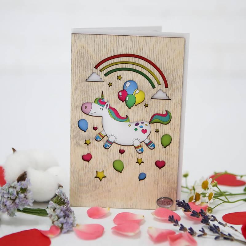 Деревянная открытка ручной работы  Радужный единорог  Shense