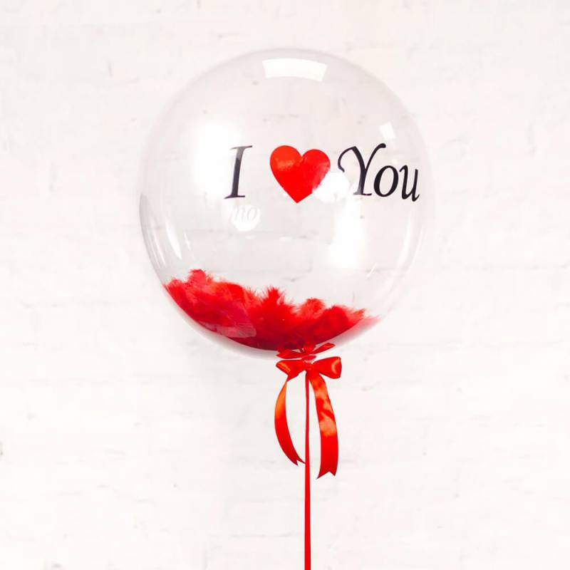 """Прозрачный шар с надписью """"I love you"""" с перьями"""