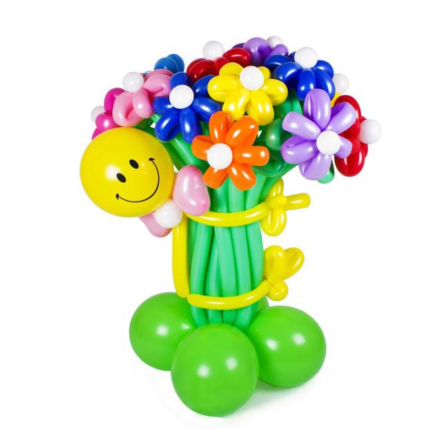 """Фигура из шаров """"Букет ромашек"""" светящийся в темноте."""