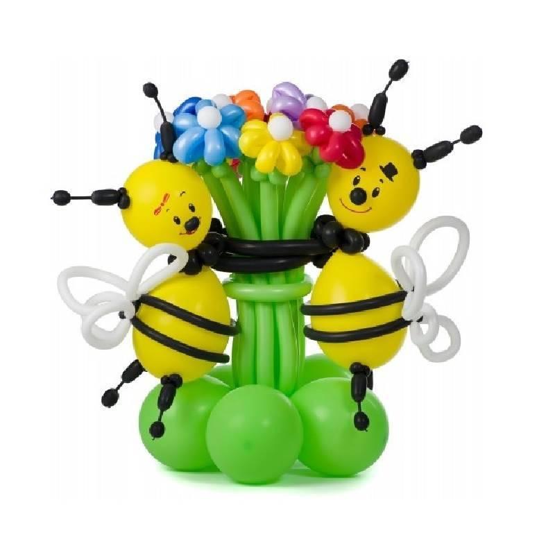 """Фигура из шаров """"Пчелки с букетом"""""""
